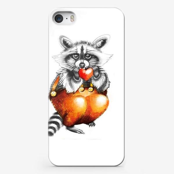 Чехол iPhone «Енот с сердечком»