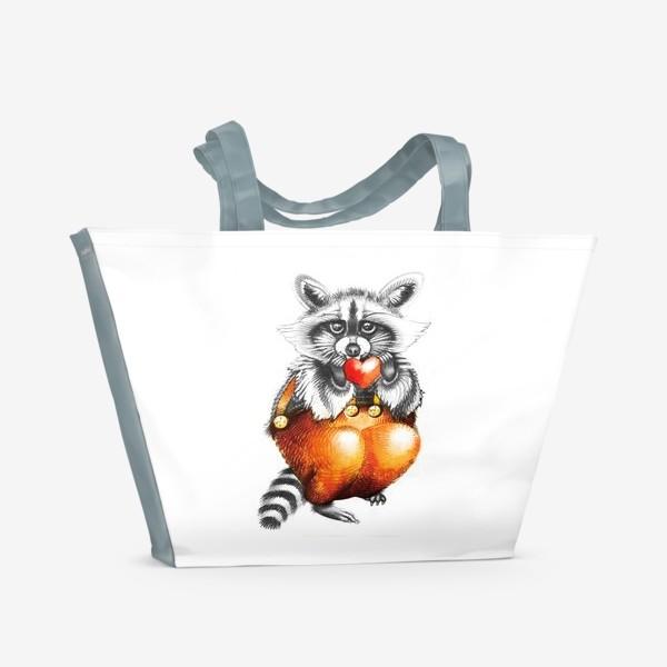 Пляжная сумка «Енот с сердечком»