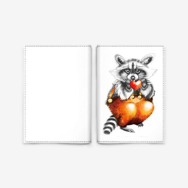 Обложка для паспорта «Енот с сердечком»