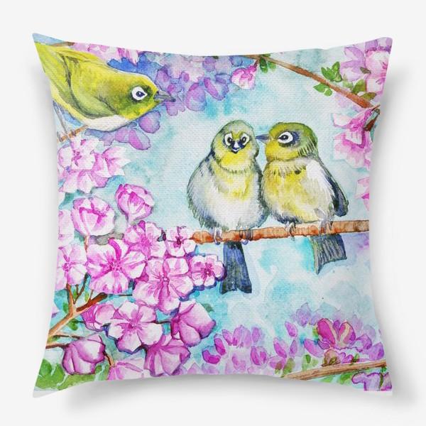 Подушка «желтые птицы на цветущей сакуре»