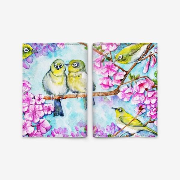 Обложка для паспорта «желтые птицы на цветущей сакуре»