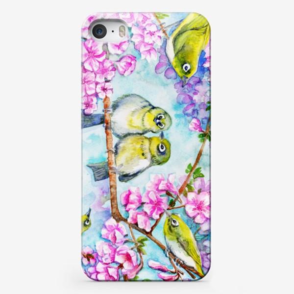 Чехол iPhone «желтые птицы на цветущей сакуре»
