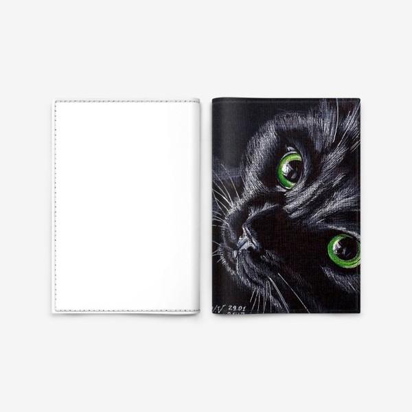 Обложка для паспорта «Черный кот»