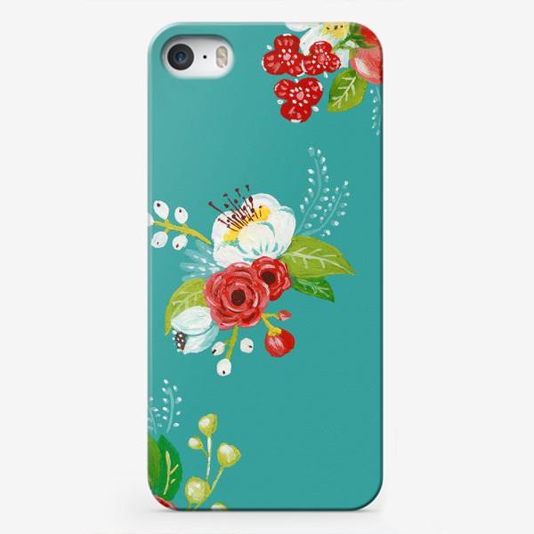 Чехол iPhone «Цветочный узор на бирюзовом»
