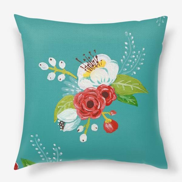Подушка «Цветочный узор на бирюзовом»