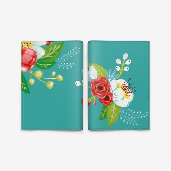 Обложка для паспорта «Цветочный узор на бирюзовом»
