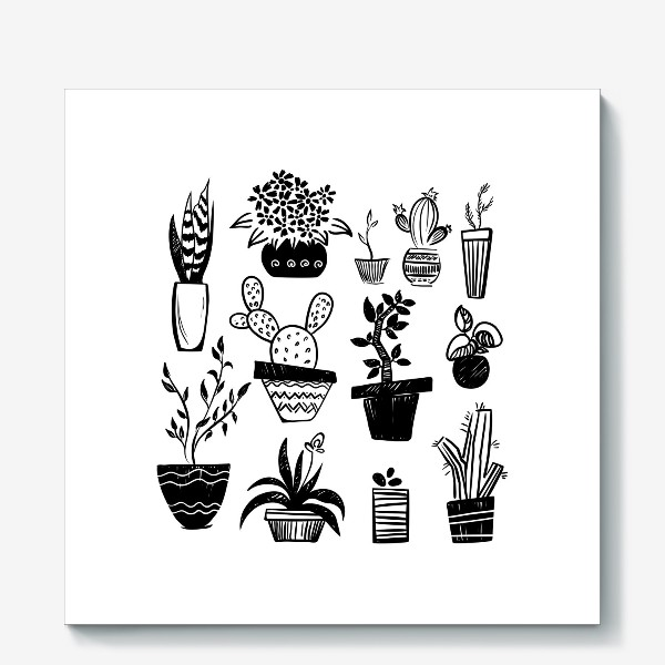 Холст «Стилизованное изображение комнатных растений.»