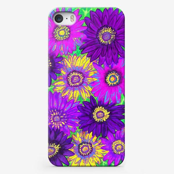 Чехол iPhone «Фон из гербер, фиолетовых, сиреневых и жёлтых»