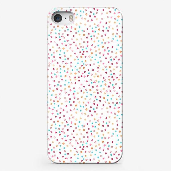 Чехол iPhone «Весёлые акварельные точки, паттерн»