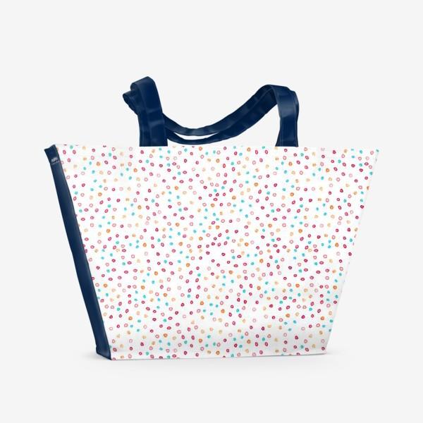 Пляжная сумка «Весёлые акварельные точки, паттерн»