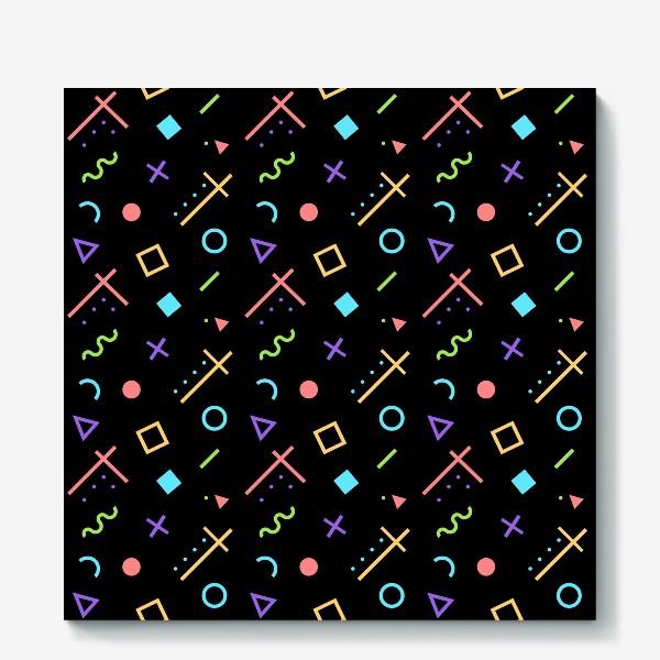 Холст «Неоновый геометрический узор»