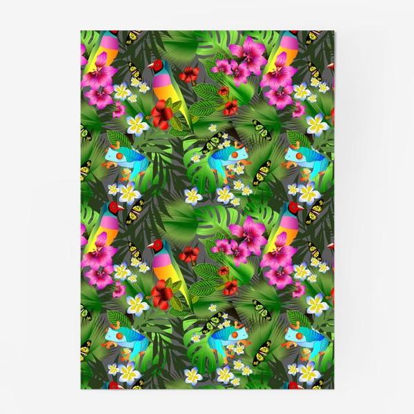 Постер «Тропические цветы и птицы»