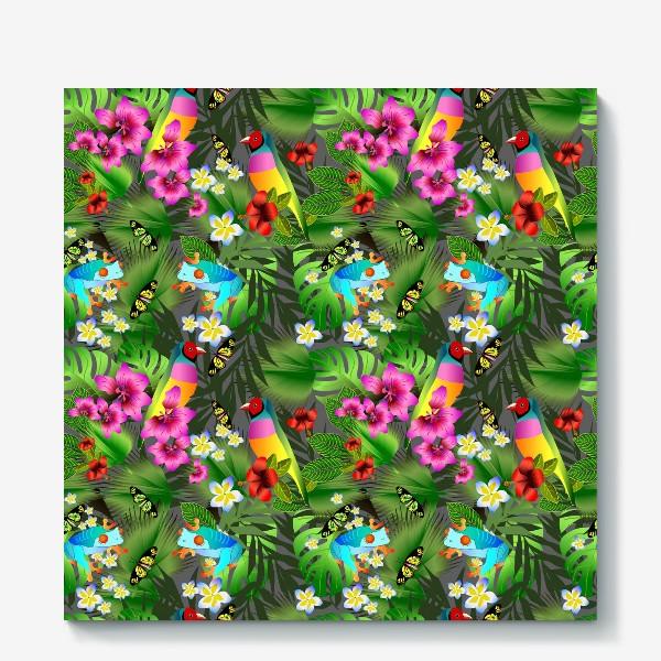 Холст «Тропические цветы и птицы»