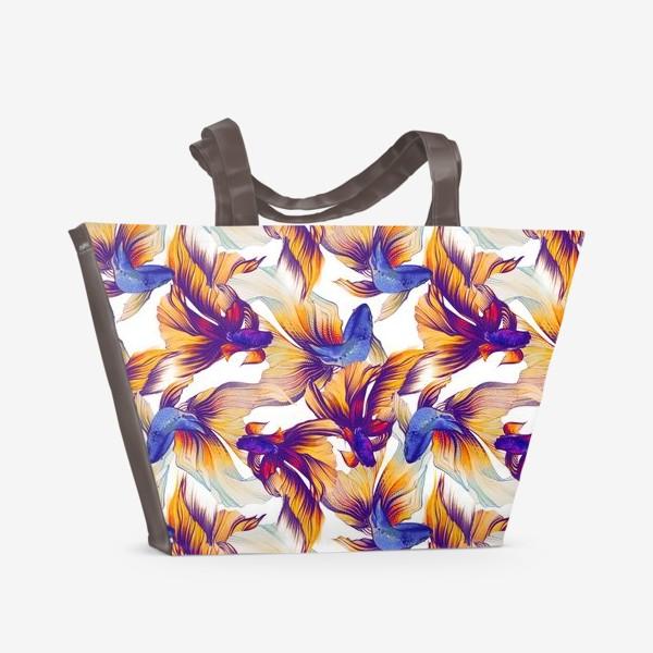 Пляжная сумка «Акварельные рыбки, текстура»