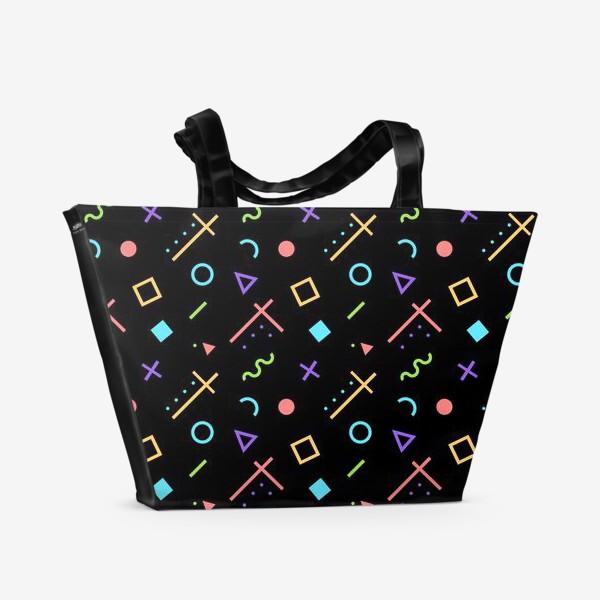 Пляжная сумка «Неоновый геометрический узор»