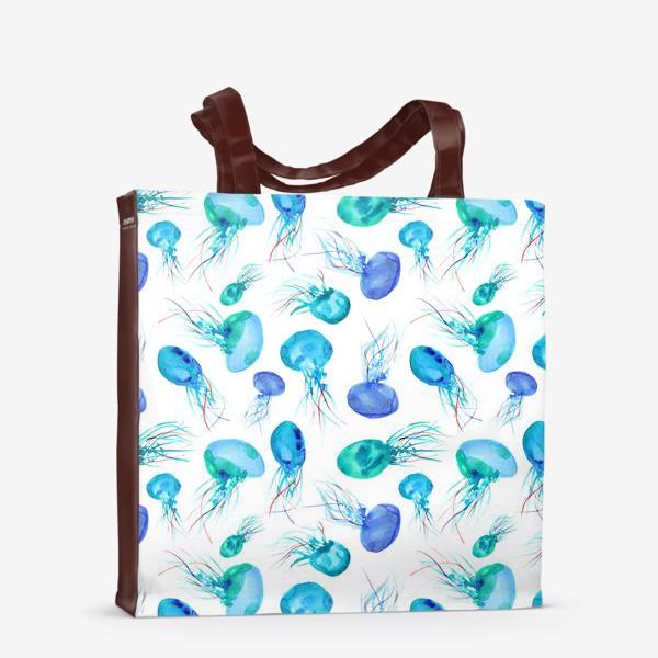 Сумка-шоппер «Бирюзовые медузы || акварель»