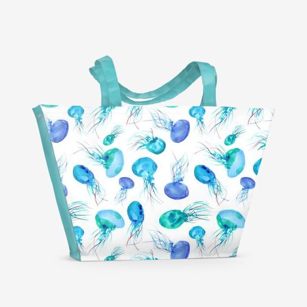 Пляжная сумка «Бирюзовые медузы || акварель»