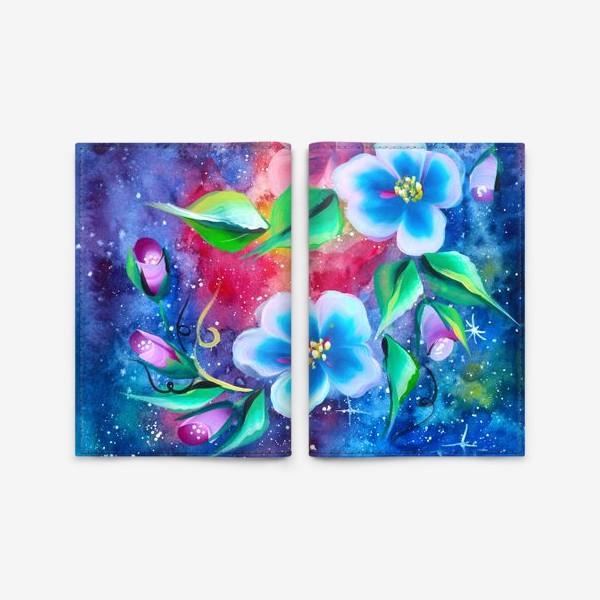 Обложка для паспорта «космо цветы»