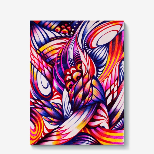 Холст «Зентангл, абстракция шариковыми ручками»