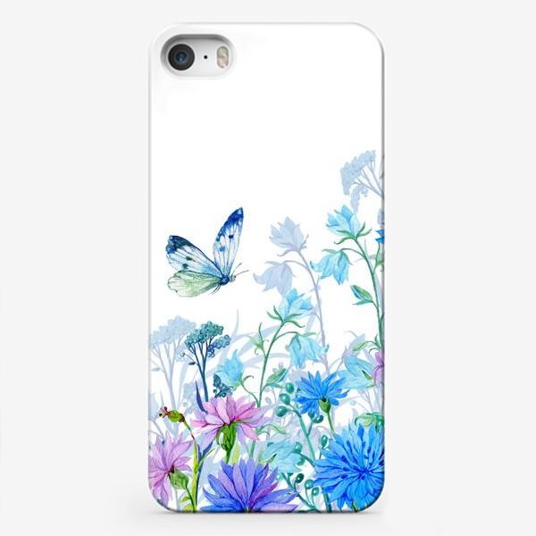 Чехол iPhone «полевые цветы и бабочка»