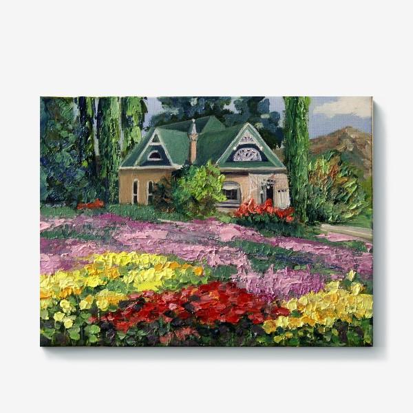 Холст «Домик среди цветов»