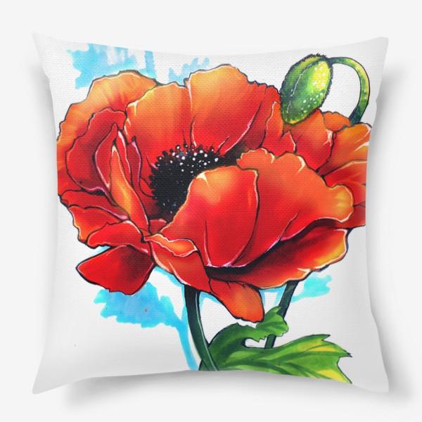 Подушка «Красный мак»