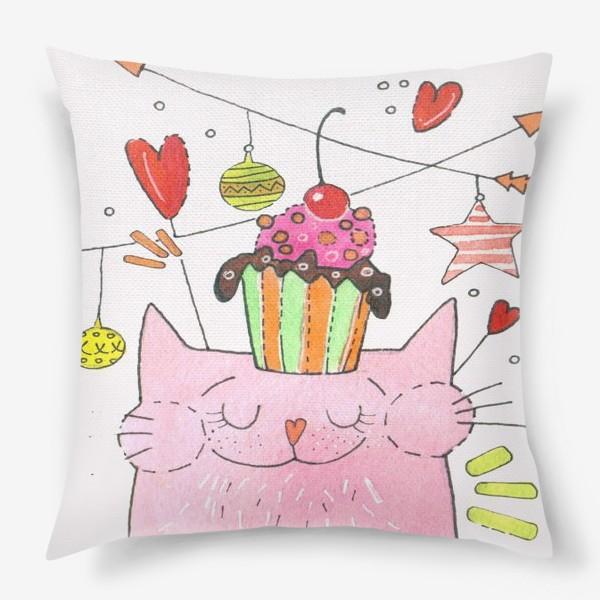 Подушка «Кот и пироженка»