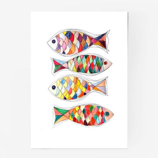 Постер «четыре  рыбы»