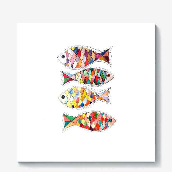 Холст «четыре  рыбы»