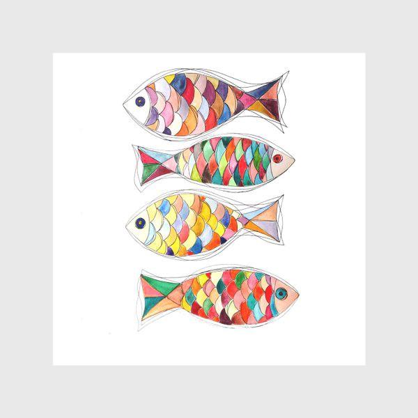 Скатерть «четыре  рыбы»
