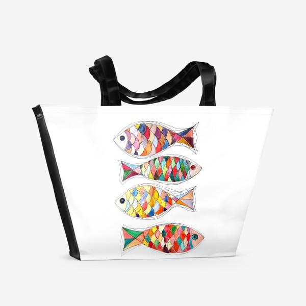 Пляжная сумка «четыре  рыбы»