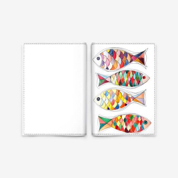 Обложка для паспорта «четыре  рыбы»