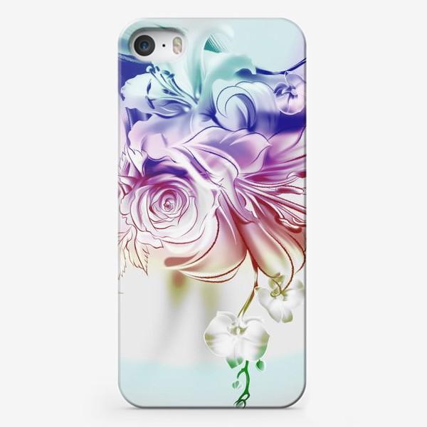 Чехол iPhone «Лилия, роза и орхидея»
