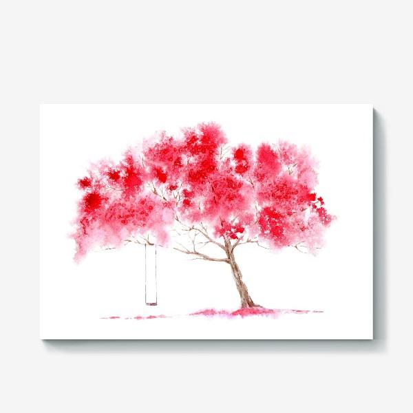 Холст «Цветущее дерево и качели»