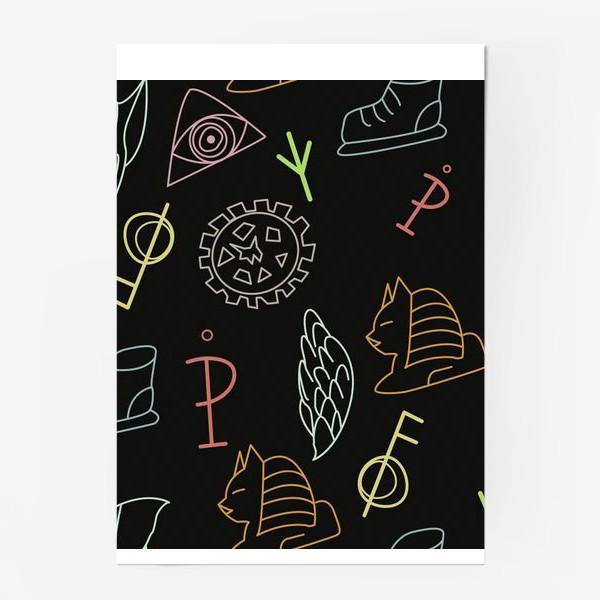 Постер «Паттерн с колесом, крылом, скрипичным ключом, сфинксом, кроссовком, глазом.»
