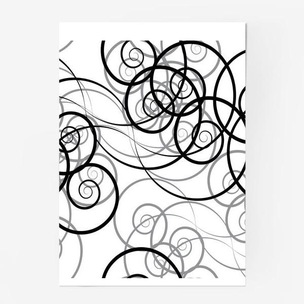 Постер «Бесшовный черно-белый паттерн с закручивающимся узором. Seamless black and white pattern with a twist pattern»