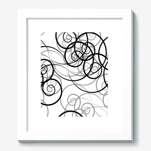 Картина «Бесшовный черно-белый паттерн с закручивающимся узором. Seamless black and white pattern with a twist pattern»