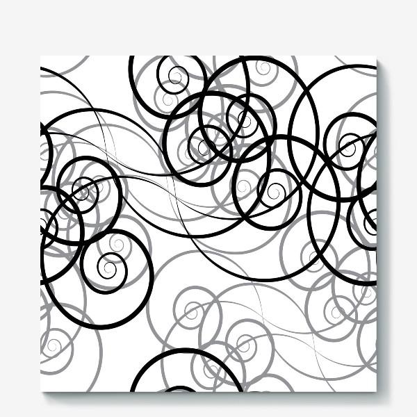 Холст «Бесшовный черно-белый паттерн с закручивающимся узором. Seamless black and white pattern with a twist pattern»