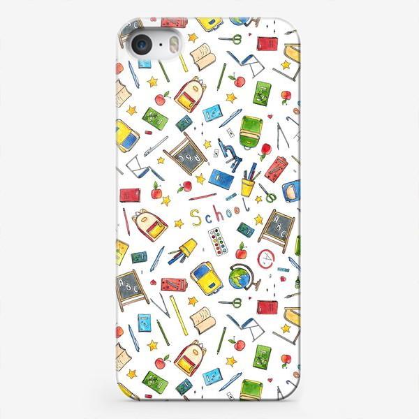 Чехол iPhone «Паттерн Школа School supplies »