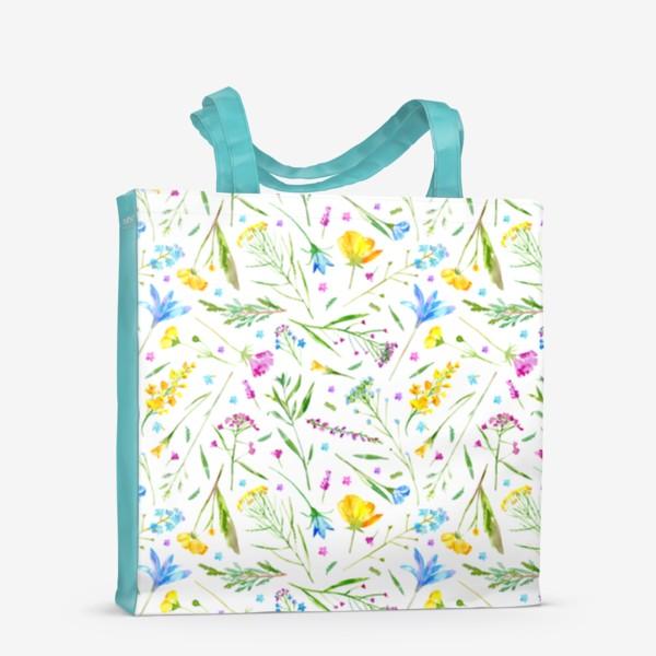 Сумка-шоппер «Цветы и полевые травы. Акварельный паттерн»