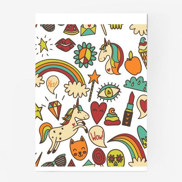 Постер «Паттерн с единорогами и другими милыми стикерами»