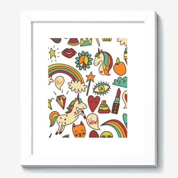 Картина «Паттерн с единорогами и другими милыми стикерами»