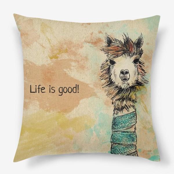"Подушка «Альпака ""Life is good!""»"