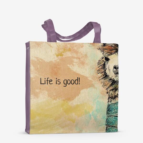 "Сумка-шоппер «Альпака ""Life is good!""»"