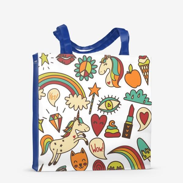Сумка-шоппер «Паттерн с единорогами и другими милыми стикерами»