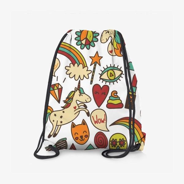 Рюкзак «Паттерн с единорогами и другими милыми стикерами»