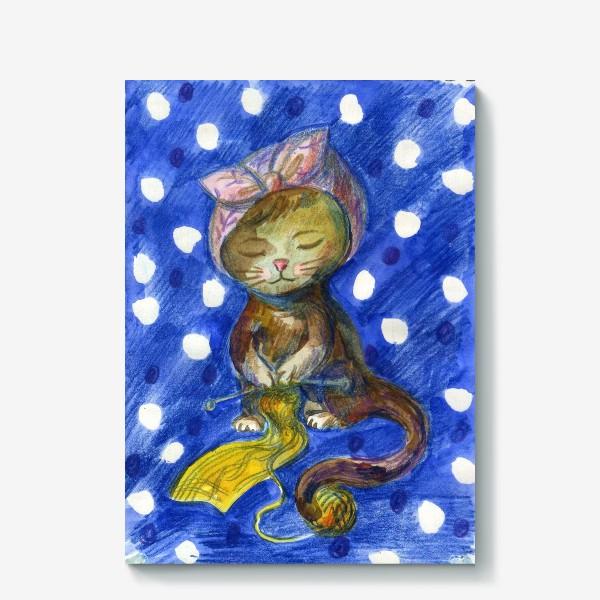 Холст «Вяжущая кошка»