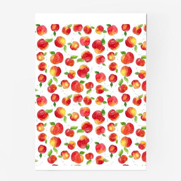 Постер «Паттерн с красными яблоками Apple pattern»