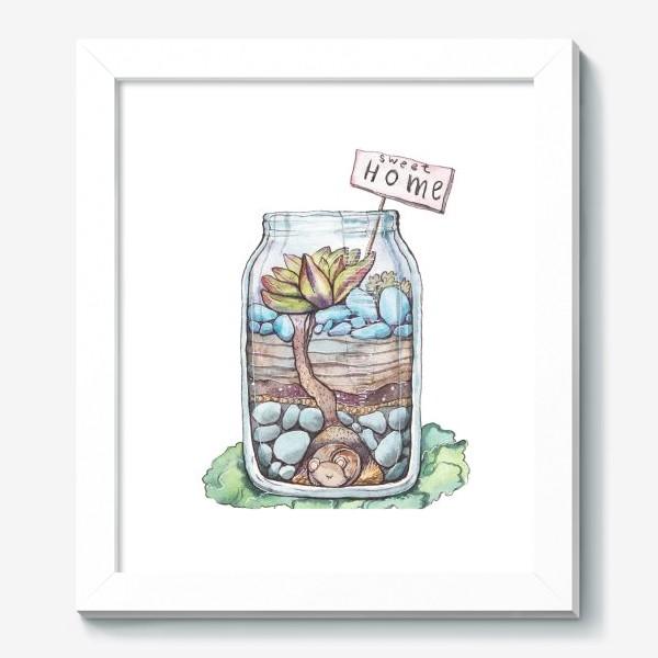 Картина «Банка с суккулентом. Домик для мышки»