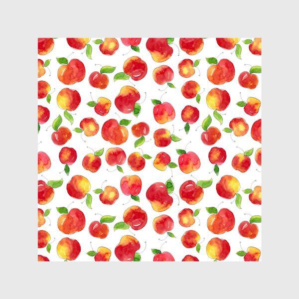 Шторы «Паттерн с красными яблоками Apple pattern»
